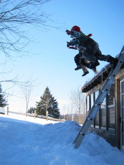 Roof jumping, winter '10/'11. Yeah, I ran this photo a while back. But I'm drawn to it again because it reminds me of what winter can be