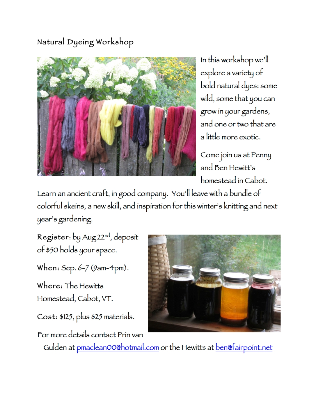 Natural Dyeing Workshop Flyer