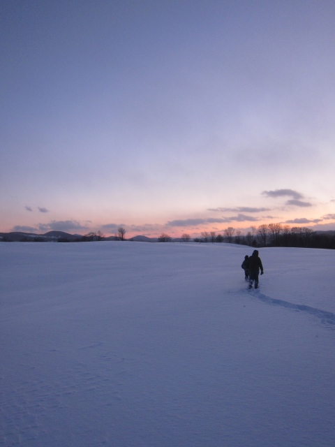 Snowshoeing to evening chores